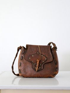 1960s Leather Bag / Woodsy Bohemia by 86Vintage86 on Etsy