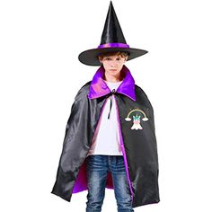 87a08119cf Magical Unicorn Halloween Wizard Witch Kids Cape With Hat Cloak for Party Christmas  Costume Cosplay -