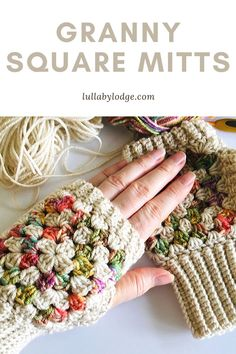Granny Square Fingerless Mitts – Mini Mother's Day series part 2 If you love granny squares as much as me, you will love this granny square mitts pattern. Quick and easy to make and would make a lovely gift. Matching boot cuffs pattern also available… Crochet Fingerless Gloves Free Pattern, Crochet Mitts, Fingerless Mitts, Crochet Needles, Crochet Stitches, Knit Crochet, Crochet Bikini, Granny Square Häkelanleitung, Granny Square Crochet Pattern