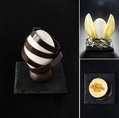 """Individual cake """"Egg"""" (two variants of presentation): hazelnut praline sponge cake; mousse with hazelnut praline and orange; cremeux mango-passion fruit-blood orange."""