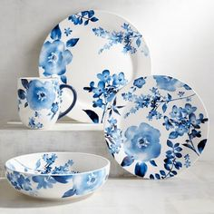 Our Azure Floral Dinnerware combines the crisp, clean look of blue on white with the romantic ease of flowers. Pretty enough for guests, our ironstone pieces work for family meals, too—they're dishwasher-safe and can be used in the microwave.