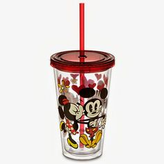 A tumbler with a straw is part of the new line of Disney clothing featuring Mickey's and Minnie's romance.