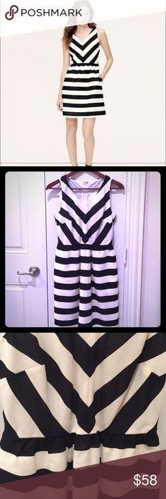 Ann Taylor Loft striped flare dress Gorgeous black and white striped dress that I bought for a wedding I couldn't attend. Brand new, never worn. Just bought and out of stock in stores. So cute with pockets on the sides. Looks great for the office too, paired with a black blazer, scarf, and heels. Ann Taylor Dresses