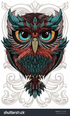 Illustration about Sumptuous owl coloring page in exquisite style. Illustration of outline, black, cover - 60473979 Owl Tattoo Drawings, Art Drawings, Drawing Owls, Tattoo Owl, Body Art Tattoos, Tatoos, Owl Artwork, Graffiti Tattoo, Owl Vector