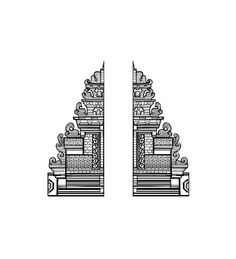 Bali Gate to Paradise Art Print by shirosakar - X-Small Design Art, Logo Design, Comic Layout, Indonesian Art, Mandala Artwork, Temple Design, Krishna Art, Travel Scrapbook, Art Logo