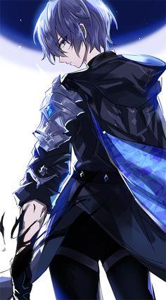 Wolf Boy Anime, Blue Hair Anime Boy, Anime Demon Boy, Blue Anime, Dark Anime Guys, Cool Anime Guys, Anime Warrior, Anime Oc, Cute Anime Boy