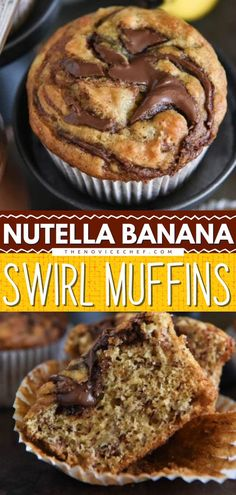 Surprise mom with this Mother's day brunch idea! This Nutella Banana Swirl Muffins recipe is made with the classic banana muffin swirled with chocolate Nutella for the ultimate sweet breakfast treat… Banana Nutella Muffins, Nutella Breakfast, Sweet Breakfast, Breakfast Ideas, Breakfast Time, Baked Breakfast Recipes, Healthy Dessert Recipes, Baking Recipes, Bread Recipes