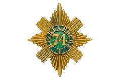 Badge. Scottish. 74th (Highlanders) Regiment Officer's shako plate circa 1861. An exceedingly fin