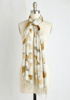 Rainy Day Regal Scarf. With this gorgeously printed scarf wrapped around your neck, there's no reason to shun a brief sprinkle or shower! #cream #modcloth