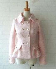 double breasted pink coat.