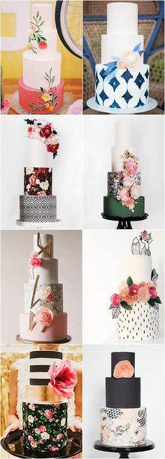 Modern Wedding Cakes with Clean Lines by Hey There, Cupcake!