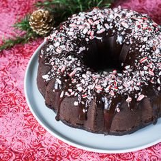 This peppermint chocolate cake gets cool, minty flavor from extract and schnapps. Rich ganache crushed candy canes make it a breathtaking holiday dessert.