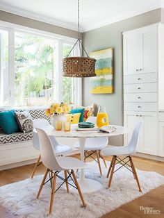 Look to lighting for a quick and easy way to integrate midcentury modern decor. Funky pendant lights, like this retro wood design, create a fun focal point for an eat-in kitchen. Eames Chairs and a shag rug further this dining area's retro vibe. Kitchen Table Makeover, Home Decor Kitchen, Home Decor Bedroom, Diy Home Decor, Homey Kitchen, Kitchen Wood, Kitchen Modern, Midcentury Modern, Mid Century Modern Decor