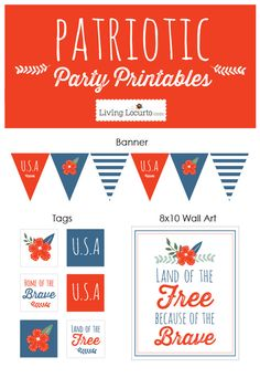 Patriotic Red, White and Blue Party Ideas and Printables LivingLocurto.com