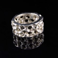 Silver Sponge Ring Wide Sterling Silver Textured by nodeform, $145.00