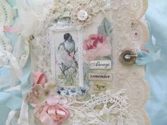 Mixed Media Art Journal Shabby Lace Collage ❤ by underthenightmoon