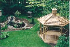 Gazebo and small pond with continuously running stream