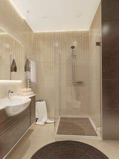 A shower stall is just big enough while a neat wall treatment makes it feel almost like a jungle.