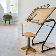 drafting table, ahhhh, I wouldn't strain My neck looking down. and...It Is Absolutely Beautiful!!! Does anyone I know, know how to make the legs for tis Drafting Table?