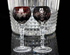Amber Yellow Cut Crystal Liquor Glasses, Cordial Glasses, Grapes Decor