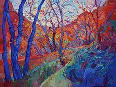Zion Desert Painting - Autumn Blues by Erin Hanson