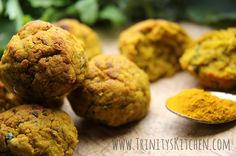Falafel is a traditional deep fried middle eastern dish. We enjoy a wonderfully healthy version by adding a few extra things like turmeric and sweet potato and bake them in the oven instead. I like to add turmeric, because it complements the other flavours so well and gives a gorgeous yellow glow to the plate.