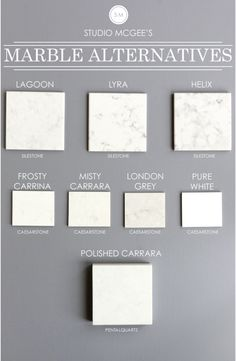 Check out this video also - http://www.studio-mcgee.com/studioblog/2014/9/24/marble-alternatives