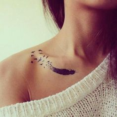 birds feather collar bone 1 http://hative.com/cool-collar-bone-tattoos/