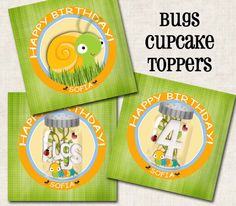 BUG Party Cupcake Toppers / Tags yellow by missbellaexpressions,