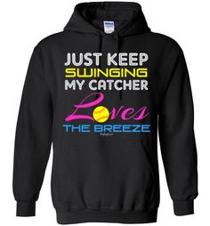 Golly Girls: Just Keep Swinging Softball Gildan Heavy Blend Hoodie (Youth & Adult Sizes) Softball Crafts, Softball Bows, Girls Softball, Softball Players, Fastpitch Softball, Softball Stuff, Softball Drills, Funny Softball Shirts, Softball Party