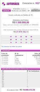 Lotofácil 1027 - resultado do sorteio de hoje, 07/03/2014