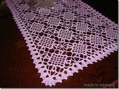 "Easy Table crochet Runner pattern  | ... gauge from the pattern…and i got a 14""W x 36""L table topper"