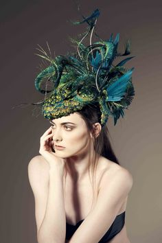 "Jane Taylor Millinery SS15  Wish I had the confidence to wear this ""fascination""  Peacock plumes and the very avante garde. Love it."