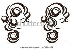 Hair stile icon, female face, vector logo design