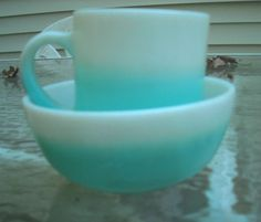 Vintage Hazel Atlas Two Tone Turquoise White Milk Glass Coffee Mug Bowl | eBay