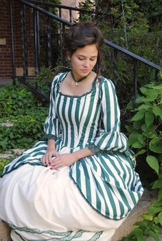Green Rococo Colonial Tea Striped Gown Dress.