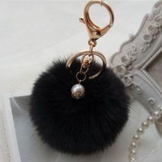 Hansel & Wang Simulation Rabbit Fur Ball Pompom Keychain Fur Pom Pom Keychain Car Bag Charm Key Chain Key Holder Keychains QC07