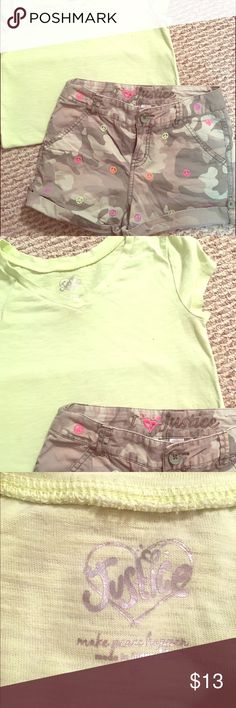 Super cute Justice Camo shorts & Tee Really cute outfit.  Popular little girls store , Justice.  Shorts & coordinating Tee are both size 8.   Shorts are camo colored , with bright colored peace signs on them.  Excellent , clean condition.  Can be paired with different colored shirts as well !    The Tee shirt is a pretty bright green color , great for spring/summer.  Good used condition as well.  Will also include accessories, also from Justice.   Smoke / pet free home.  I am a 5 star posher…