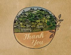 African Hills Thank You Card (blank inside) by greensJOY on Etsy, $6.00 for 3.