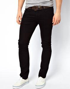 €144, Schwarze Enge Jeans von Lee. Online-Shop: Asos. Klicken Sie hier für mehr Informationen: https://lookastic.com/men/shop_items/140031/redirect