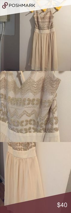 Selling this Gorgeous cream / champagne dress with embroidery on Poshmark! My username is: zoeemeows. #shopmycloset #poshmark #fashion #shopping #style #forsale #Alya #Dresses & Skirts