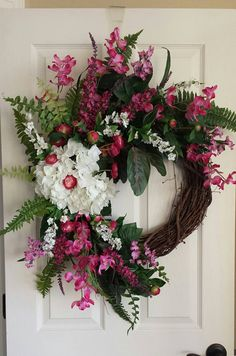 Pink+Orchid+Hydarangea+front+door+spring+wreath+summer+wreath