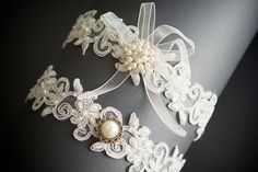 Ivory Floral Beaded  Lace Bridal Garter Set , Wedding Garter ,Toss Garter ,  Bridal Accessories  ,Pearl Accent. $35.00, via Etsy.