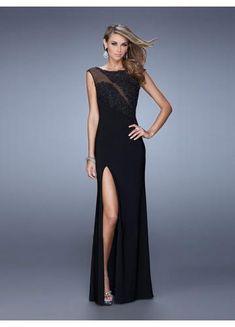 815c8fd5a987 Etui-Linie U-Ausschnitt Bodenlang Chiffon sexy Abendkleider schwarz lang