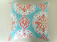 Linen Cushions Boho Pillows, Boho Cushion, Bohemian Style Cushions, Turquoise Cushions Aqua Red Orange Pink Pillow, Cover Only by MyBeachsideStyle on Etsy https://www.etsy.com/listing/155341964/linen-cushions-boho-pillows-boho-cushion