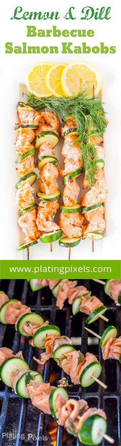 Lemon and Dill Barbecue Salmon Kabobs by Plating Pixels - Vinegar, lemon juice and zest add a nice zing to salmon. Healthy and gluten free - www.platingpixels.com