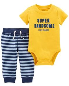 Crawling, playing or sleeping, he's cute and comfy in this 2-piece set! Complete with a flocked slogan bodysuit and easy-on French terry pants.