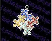 Crystal Interlocking Multi-Colored Autism Hope Puzzle Piece Charms Pendants
