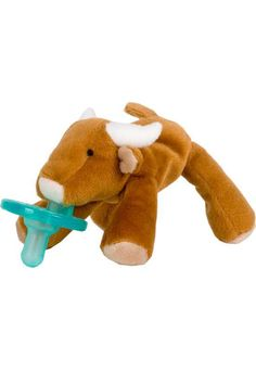 Never misplace a pacifier again with the Longhorn WubbaNub Pacifier! This adorable pacifier will be your child's new best friend! Buy now - we ship quickly!