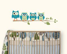 Owl Wall Decal, Owls on a Branch for Baby Nursery, Kids or Childrens Room. $38.00, via Etsy.